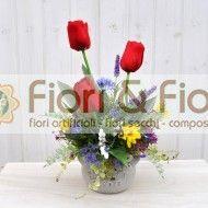 Composizione fiori artificiali Lisette rosso