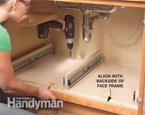 <p>Build these handy undersink roll-out trays in a weekend. You can tackle this project with simple carpentry tools and some careful measuring.</p> <p>You can make all the trays in an afternoon using building products from your local home center or hardware store for as little as $80.</p>