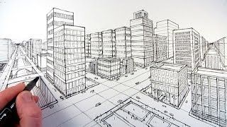 How to Draw a city using two point perspective.  art tutorials drawing - YouTube