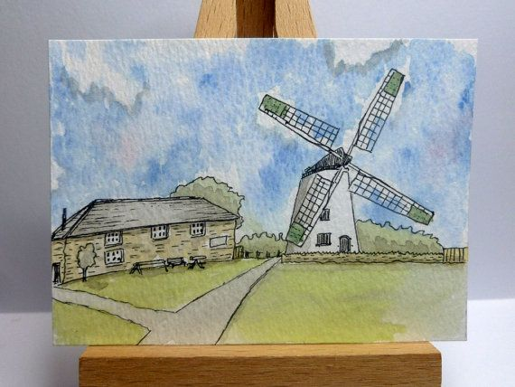 An original ink and watercolour painting of Llynnon Mill, Anglesey, North Wales.  It is ACEO size - 6.4cm x 8.9cm (2.5 x 3.5).  I have used artist