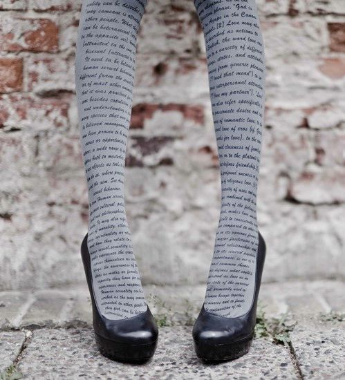 scripted tights!: Sock, Leg, Fashion, Style, Clothes, Print Tights, Book, Literary Tights
