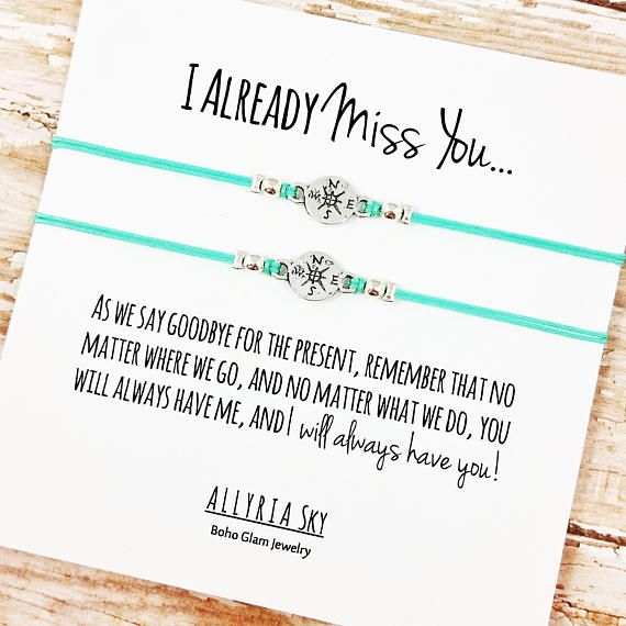 """Set of TWO Charm Friendship Bracelets with """"I Miss You"""" Card   BFF, Best Friend Gift Jewelry   Going Away, Moving, Graduation, Goodbye Gift"""