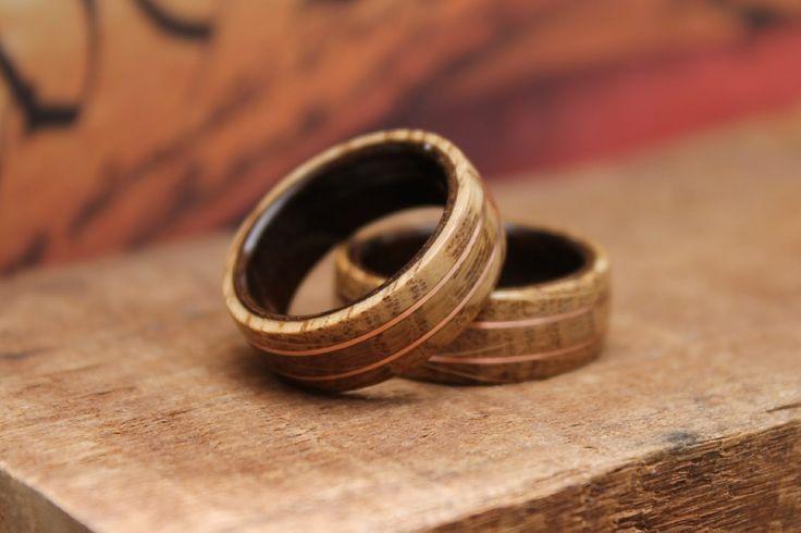 Beautiful set of matching whiskey barrel, copper & leadwood rings!