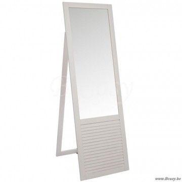 J-Line Staande witte spiegel staand in wit hout 182x57