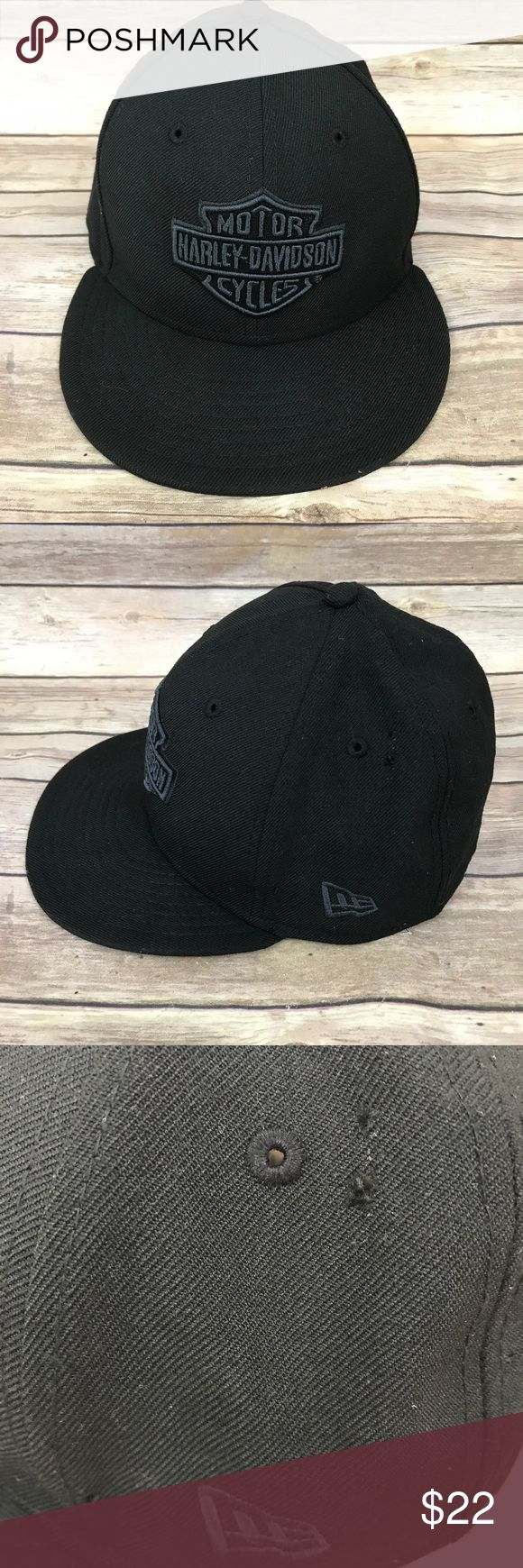 Harley Davidson New Era Fitted Hat size 7 Harley Davidson New Era Fitted Hat size 7 does have a couple of small holes but overall good condition New Era Accessories Hats