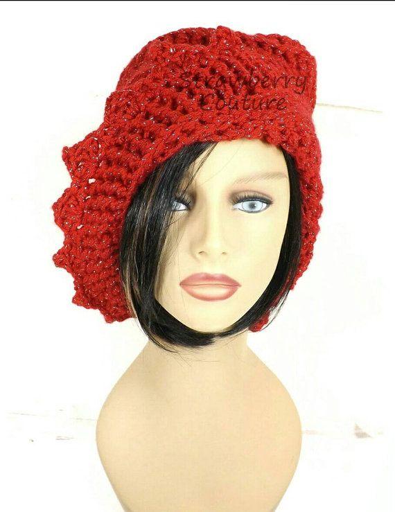 Red Crochet Hat Womens Hat Womens Crochet Hat Crochet Beanie Hat Red Sparkle Hat Red Hat African Hat LAUREN Beanie Hat for Women by strawberrycouture by #strawberrycouture on #Etsy