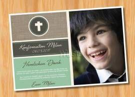 Dankeskarten Danksagungskarten Konfirmation Kommunion  MUSTER 95 - Bild vergrößern