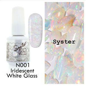 SYSTER 15ml Nail Art Soak Off Color UV Gel Polish N001 - Iridescent White Glass