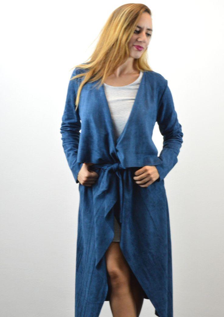 Παλτό Μακρύ σε Suede Υφή - ΜΠΛΕ | shop online: www.musitsa.com