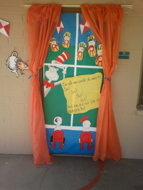 Classroom Decoration Happy Birthday ~ My classroom door celebrating dr suess cat in the hat