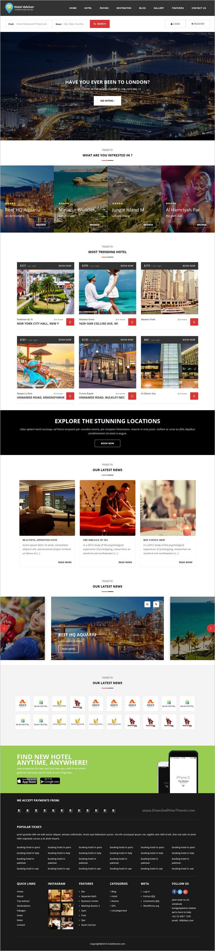 Hotel Advisor is a clean and modern design 6 in 1 #WordPress theme to manage #hotels, hostels, #resorts, rooms reservation with in depth review and booking management system website download now➩  https://themeforest.net/item/hotel-advisor-hotel-management-and-booking-wordpress-theme/18435488?ref=Datasata