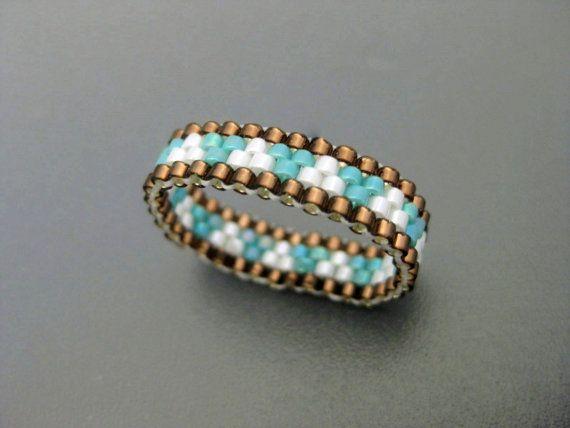 Anillo Peyote finos abalorios anillo / anillo de por MadeByKatarina