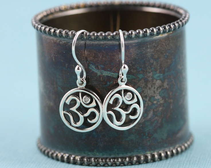 Om Diamond Yoga Earrings Jewelry Sterling by gooseberrystudio, $48.00