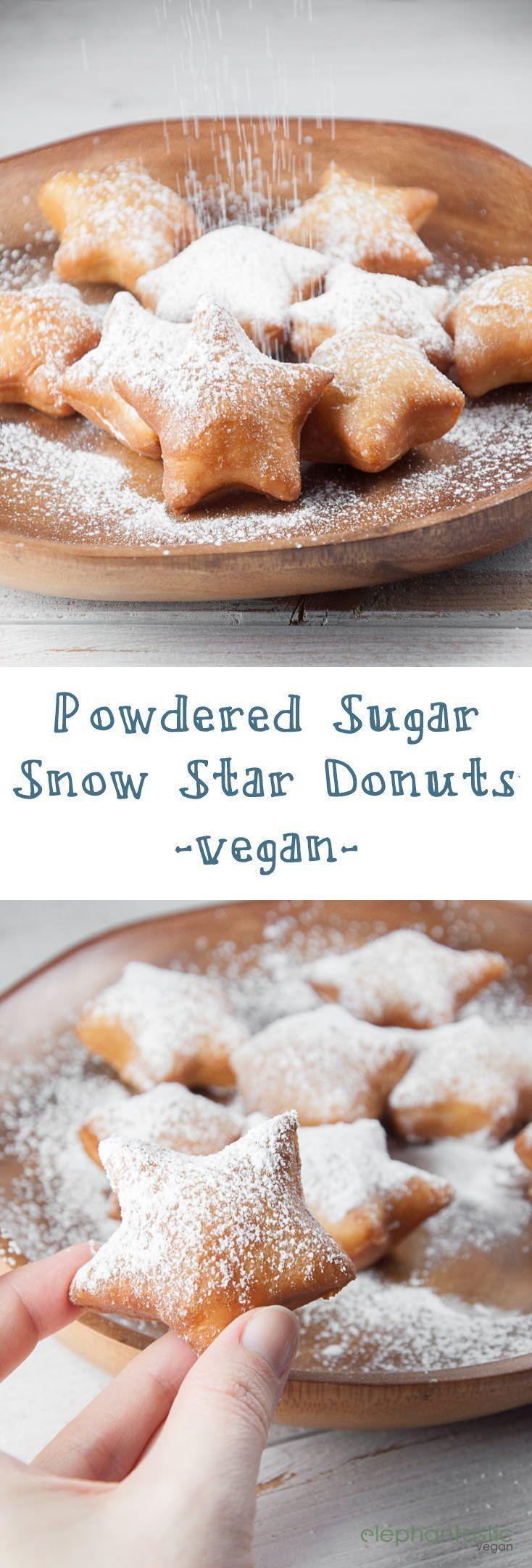Powdered Sugar Snow Star Donuts (vegan) | http://ElephantasticVegan.com
