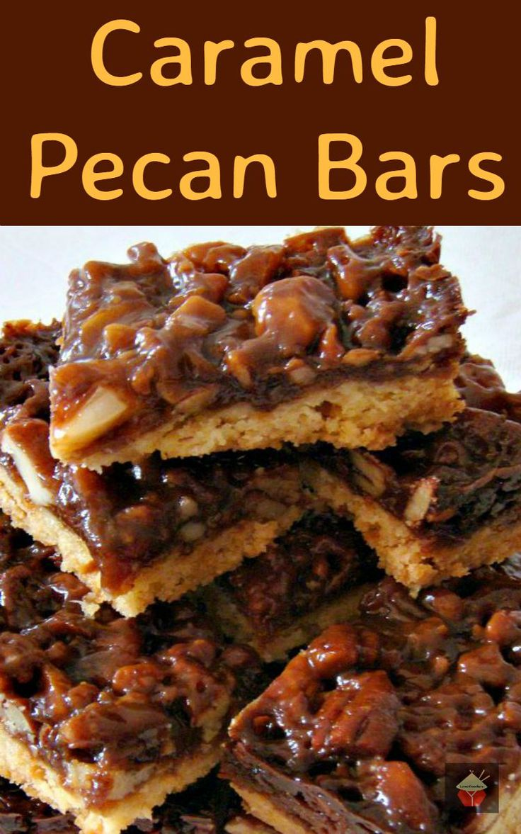 Chewy Caramel Pecan Bars Recipe — Dishmaps
