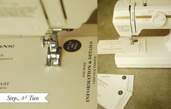 Make your own perforated card (tear off ticket stub) with a sewing machine