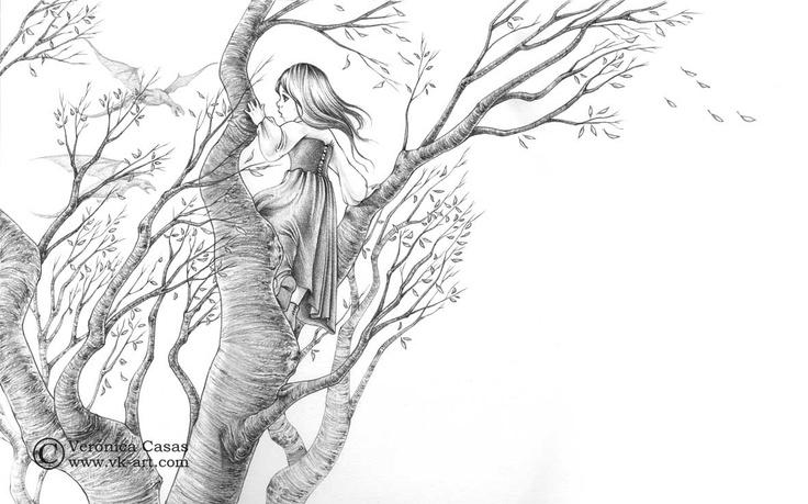 "Title: vienen los dragones  Year: 2012  Size: 40 X 50 cm  Technique: Pencil    Illustration for ""The ice dragon"" (George R. R. Martin) published by Montena.    www.vk-art.com"