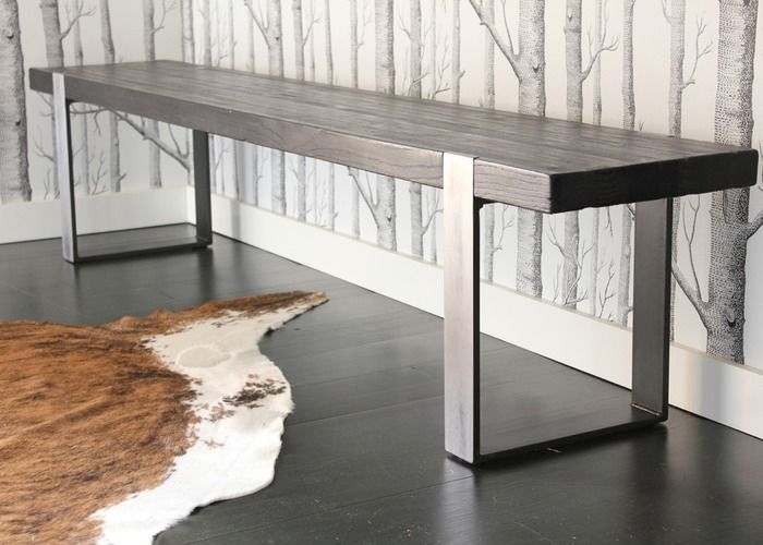 SEVENTEEN20 (S/20) furniture company (Jonathan and Sarah Bucklew).  Ph. SEVENTEEN20.  Sourced from plastolux.com and seventeen20.com. @Tyler Goodro Goodro  Original Bench in scorched wood finish with darkened / brushed steel legs, individually hand-made to order.