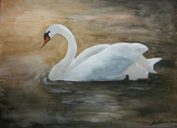 Check out this item in my Etsy shop https://www.etsy.com/listing/460287408/swan-on-the-lake-original-watercolor