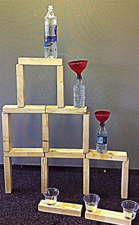 Make a water bottle waterfall that kids can turn on and off. Super cool science!