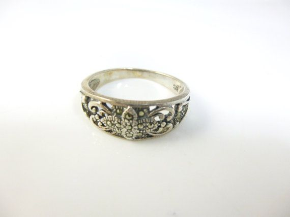 Marcasite Ring www.etsy.com/au/listing/251874085/marcasite-ring-art-deco-ring-sterling