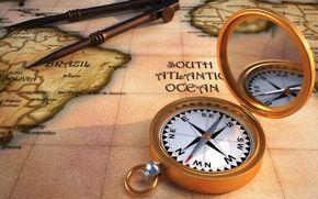 Обои карта, компас, циркуль, обои, ретро