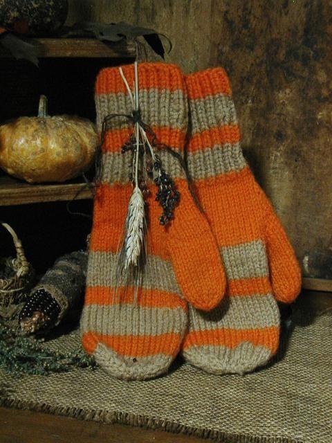 Autumn Striped Mittens.