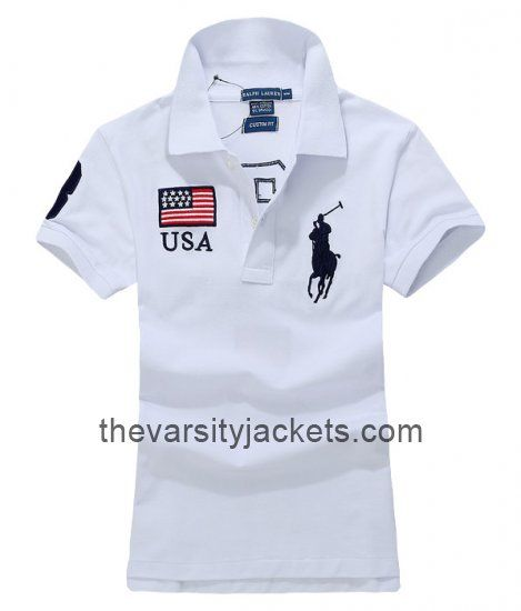 New Style Mens Ralph Lauren USA White Polo T-shirts Online