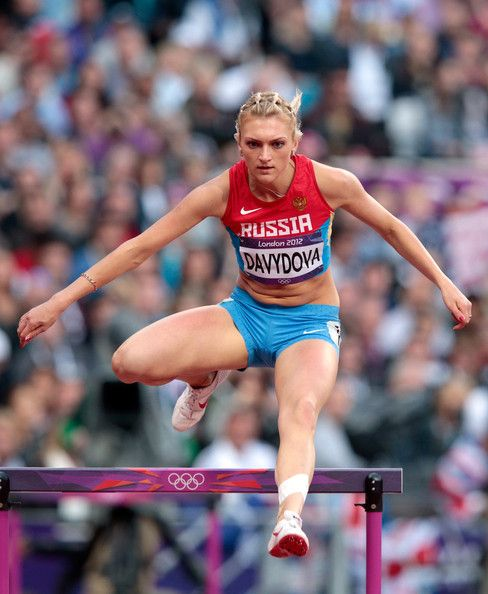 Irina Davydova Irina Davydova of Russia competes in the Women's 400m Hurdles Heat on Day 9 of the London 2012 Olympic Games at the Olympic Stadium on August 5, 2012 in London, England.