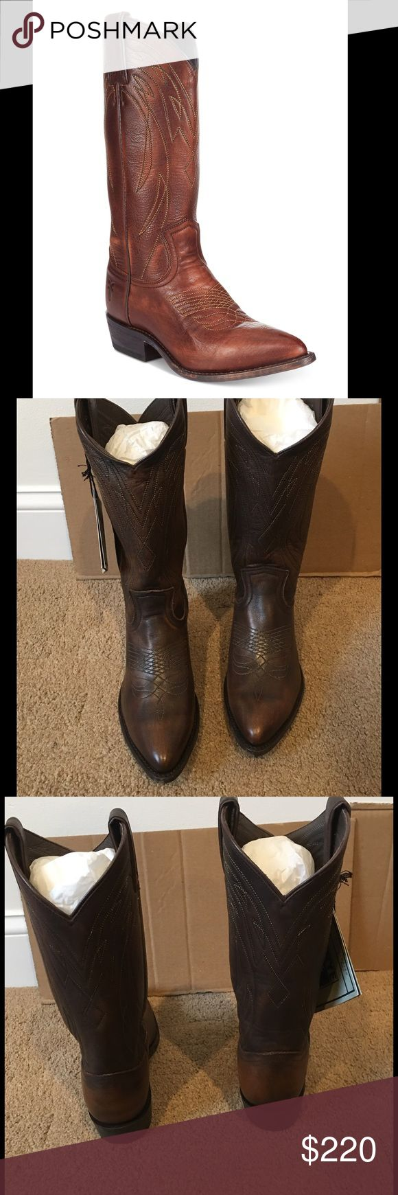 """🎉HP🎉FRYE BOOTS🎉 Western style boots features rich leather, tonal embroidery and pull on styling with a pointed closed-toe mid- shaft pull-on. 1-1/2"""" block heel. Color Dark Brown Frye Shoes Heeled Boots"""