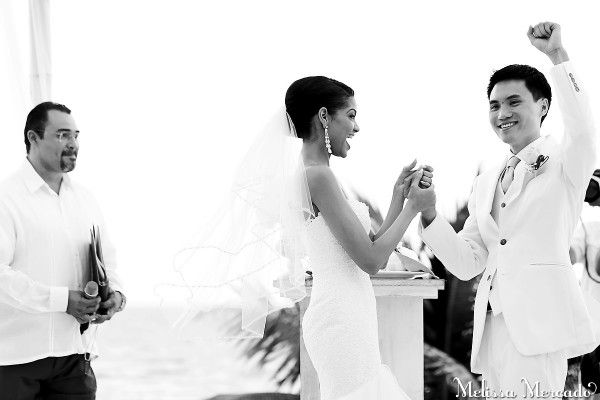 one of my favorite shots of the bride + groom just after they said I do! | Playa del Carmen wedding | melissa-mercadi.com