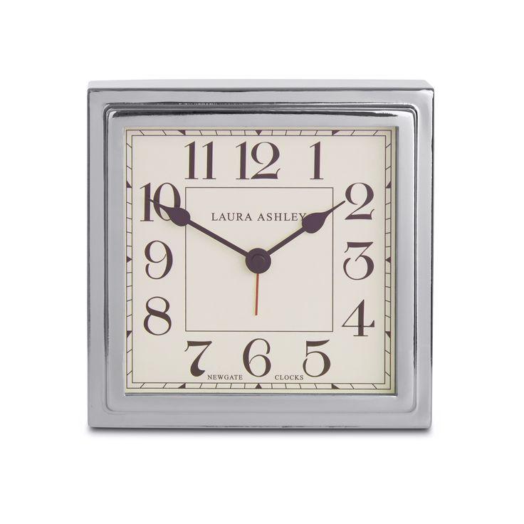 Silver finish square mantel clock at laura ashley wall for Square wall clocks uk