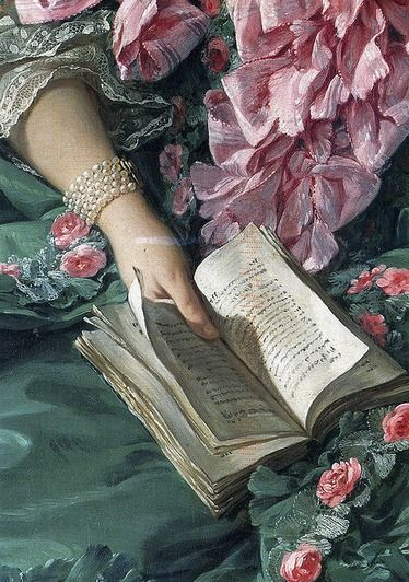 French very Marie AntoinetteReading Book, Open Book, Art, The Pompadour, Woman Reading, Mary Antoinette, Pink Rose, Painting, Pearls Bracelets