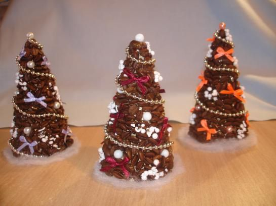 christmas trees coffee beans beads ribbons