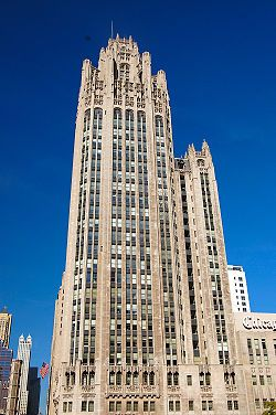 "The 40-story Tribune Tower was selected as the winner in the Chicago Tribune's 1922 international competition for ""the most beautiful office building in the world."" It feautes over 150 stones from famed sites & structures from all 50 states & around the world!"