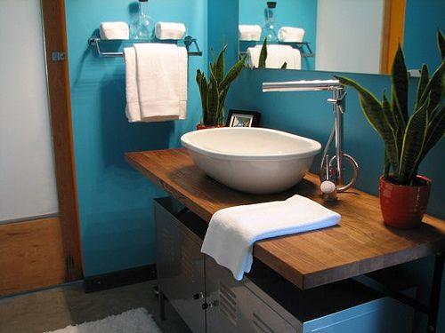 butcher block bathroom vanity w/ikea cubbies