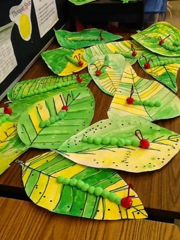 Watercolour leaves and clay caterpillars for The Very Hungry Caterpillar art project!