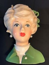 Old Vtg Napcoware Ceramic Lady Head Vase Planter #8497A Pearl Necklace Earrings