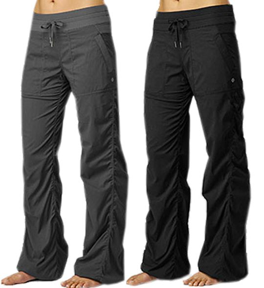Lululemon Dance Studio Pants (in gray & black).  Pinner said... I am told that these hold up really well, and are the most comfy pants EVER!... Now lets try to find them