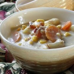 Ham Bone Chowder | Leftover ham bones are a perfect addition to potato and corn chowder in the slow cooker for a warm and comforting weeknight dinner.