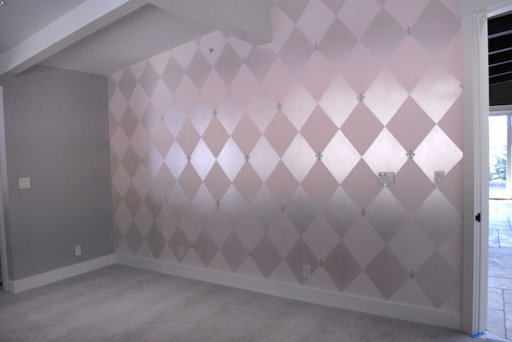 allisoncosmos: I painted large diamonds on the walls of this young girl's room. The metallic shine was ...