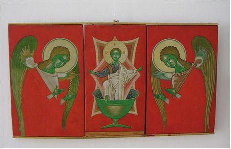Triptic al Maestrului  Viorel Grimalschi ; foto:Claudiu Victor Gheorghiu, zugrav, imitator și ucenic al Sf. Ap. Ev. Luca.