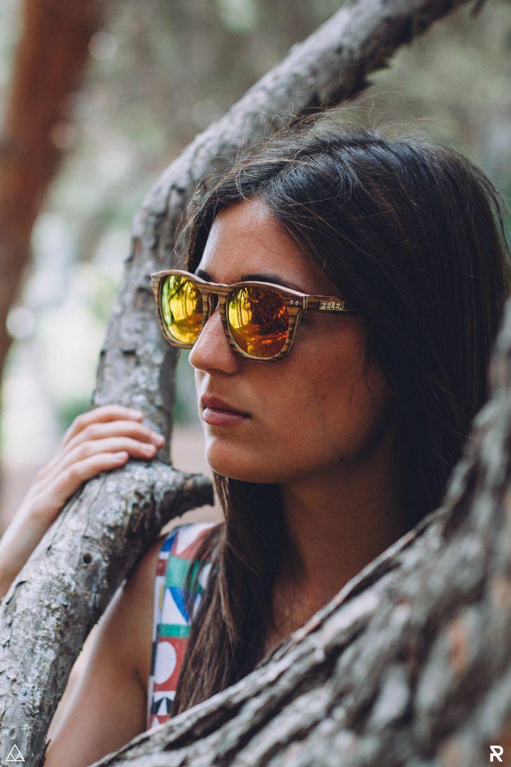 Gafas de Madera Feler Sunglasses - Victory Zebrano Rojo Espejo