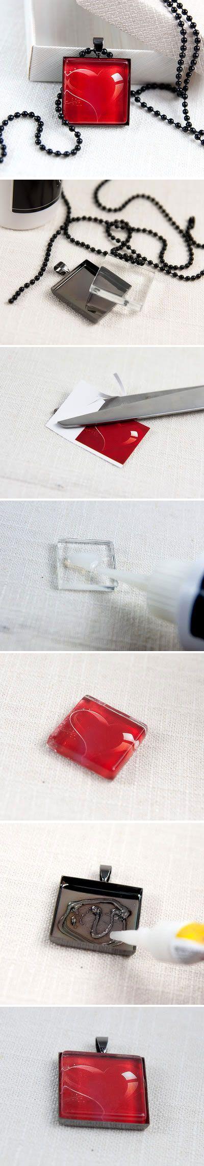 DIY tutorial how to make a glass tile pendant.  http://irinascutebox.blogspot.com/2011/03/how-to-make-glass-tile-pendant.html