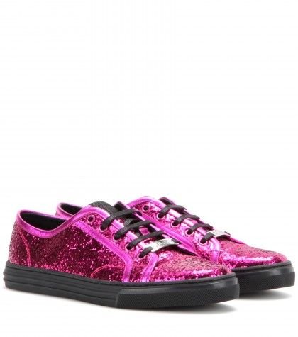 """""""Sneaker California Con Glitter"""" """"Sneaker con glitter fucsia e suola nera By Gucci"""" found on Styletorch"""