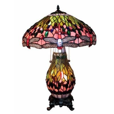 Warehouse Of Tiffany 26 In. Dragonfly Multicolored Brown Table Lamp