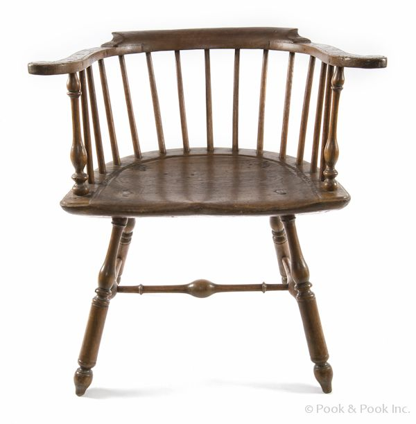 Philadelphia Lowback Windsor Armchair, Ca. 1780, With Outward Scrolling  Arms And A D