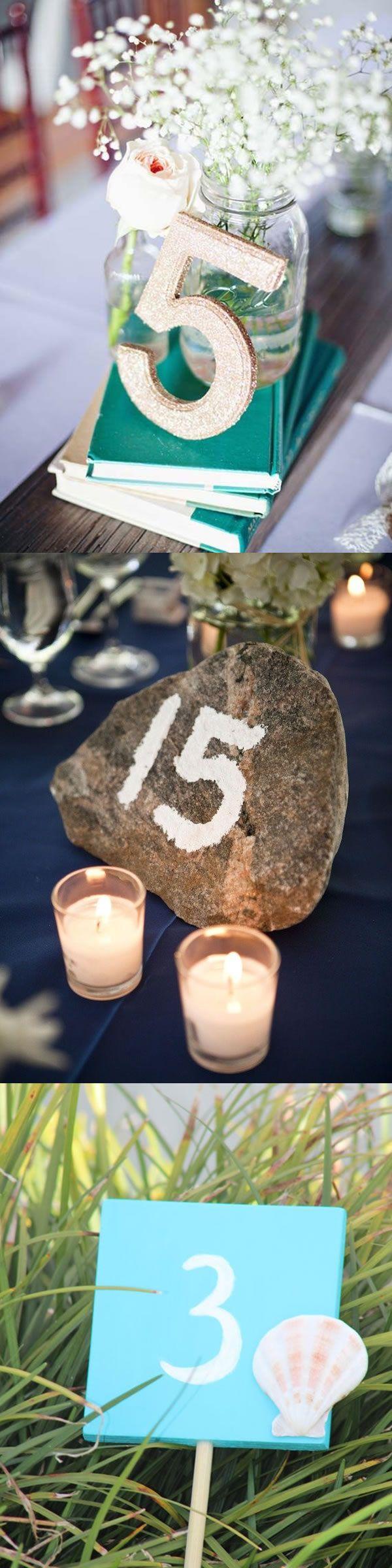 DIY Beach Wedding Table Numbers, Creative Beach Wedding Table Number Ideas,  Burlap, Stone