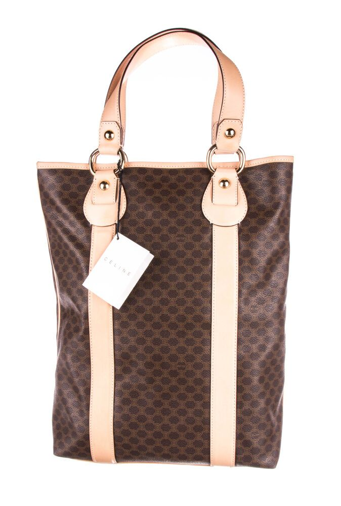 d6ade28f3d3f Vintage CELINE Brown Macadam Coated Canvas Tote Bag  fashion  clothing   shoes  accessories