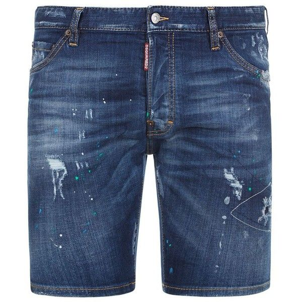 DSquared2 Distressed Paint Splatter Denim Shorts (35.620 RUB) ❤ liked on Polyvore featuring men's fashion, men's clothing and men's shorts